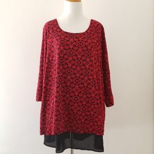 Catherines red & black lace tunic 3/4 sleeves 1X